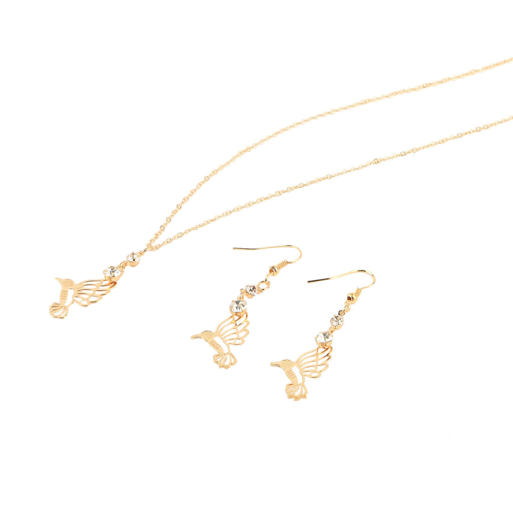 New Arrival Vintage Gold Jewelry Sets Fashion Hummer Pendant Statement Necklace & Crystal Drop Earrings for Women