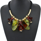 New Arrival Women Long Rope Style Colours Acrylic Flower Necklaces & Pendants Maxi Brand Collar Statement Necklace