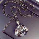 New Arrival Women Pendant Necklaces Large Elliptical Crystal Fashion All-match Simple Decorative Pendant Long Sweater Chain