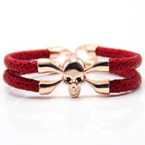 New Arrival baseball stingray leather skull bracelet Luxury man Skull Bracelet handmade high qaulity leather bracelet