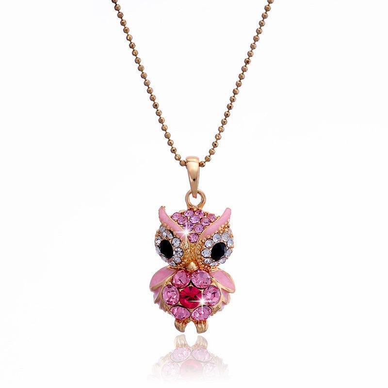 New Arrivals 18K Gold Plated Austrian Crystal Pendant Necklace Fashion Jewelry Crystal Colorful Owl Pendants Women Lady