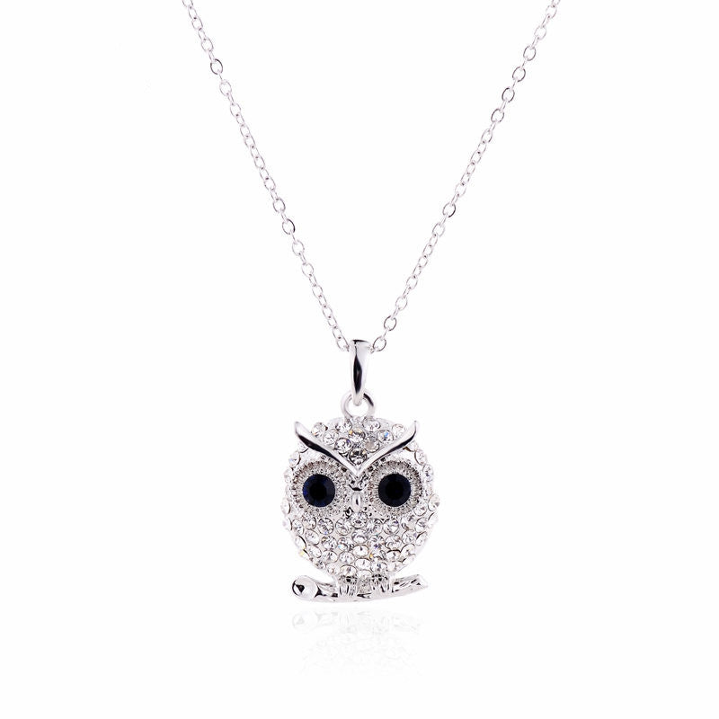 New Arrivals White Gold Plated Austrian Crystal Pendant Necklace Fashion Jewelry Crystal owl Pendants gufi for Women Lady