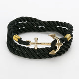 New Arrive DIY Rope Black Blue Anchor Bracelet Fashion Women Men Hooks Bracelet Bangle Charm Bracelets Jewelry