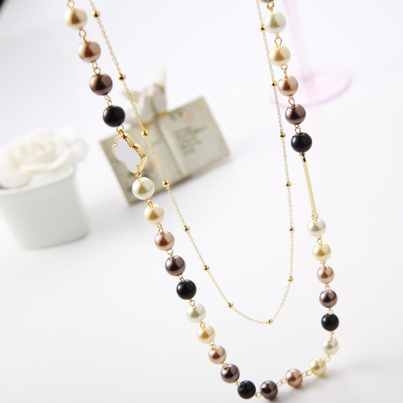 New Arrive Fashion Simulated Pearl Jewelry Multi Layer Long Necklace For Women Sweater Chain Pendant Necklace