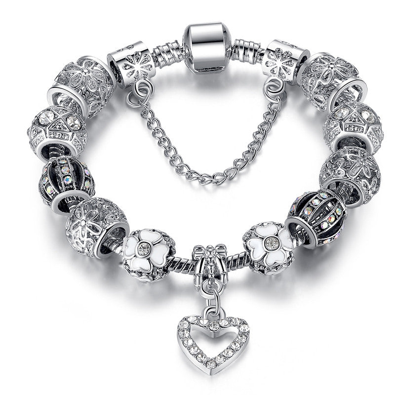 New Brand Design 925 Unique Silver Gold Charms Crystal Beads Bracelets For Women Original Luxury Bracelets Pulseira Gift