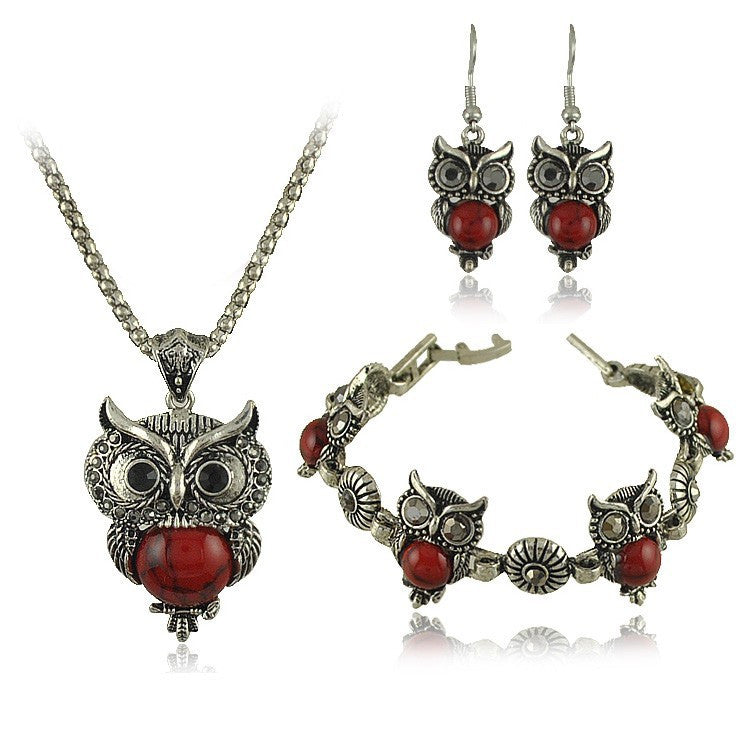 New Vintage Design Owl Jewelry Sets Tibetan Vintage Silver Retro Turquoise Stone Pendant Necklace drop earrings Charm bracelet Set