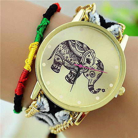 New Brand Handmade Braided Elephant Friendship Bracelet Watch GENEVA Watches Women Quarzt Watches