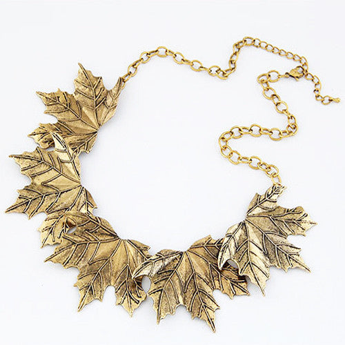 New Choker Bib Statement Necklace Girl Chian necklaces For Women Vintage Korea Leaves Pendant Necklace Jewelry collares
