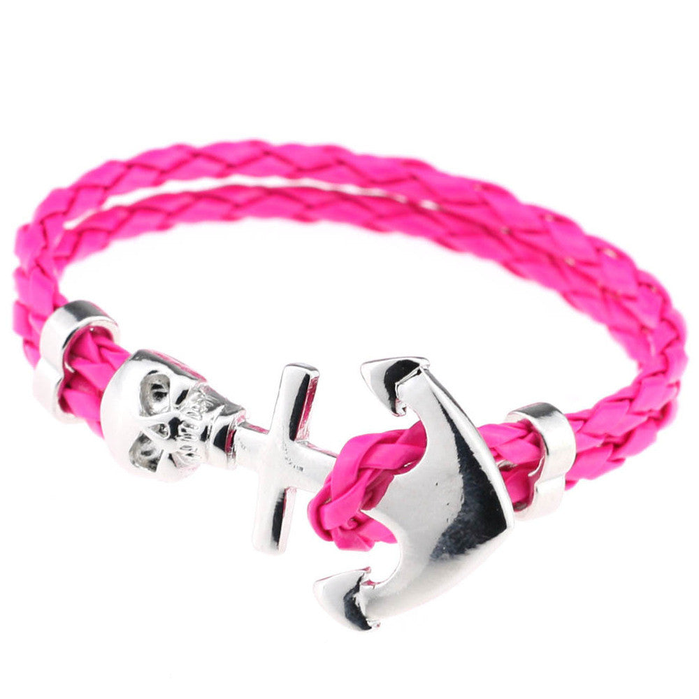 New Design Fashion Genuine Vintage Anchor Leather Bracelet For Man Magnetic Punk Wrap Skull Man Bracelet Skull