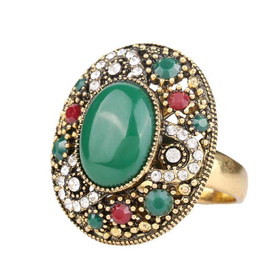 New Design Fashion Rings For Women Red Round Turquoise Tibetan Silver Alloy Wedding Rings