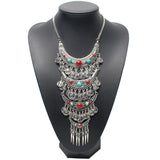 New Design Fashion choker Statement Bohemian necklace pendants Vintage Coin Silver maxi Necklace Women fine Jewelry