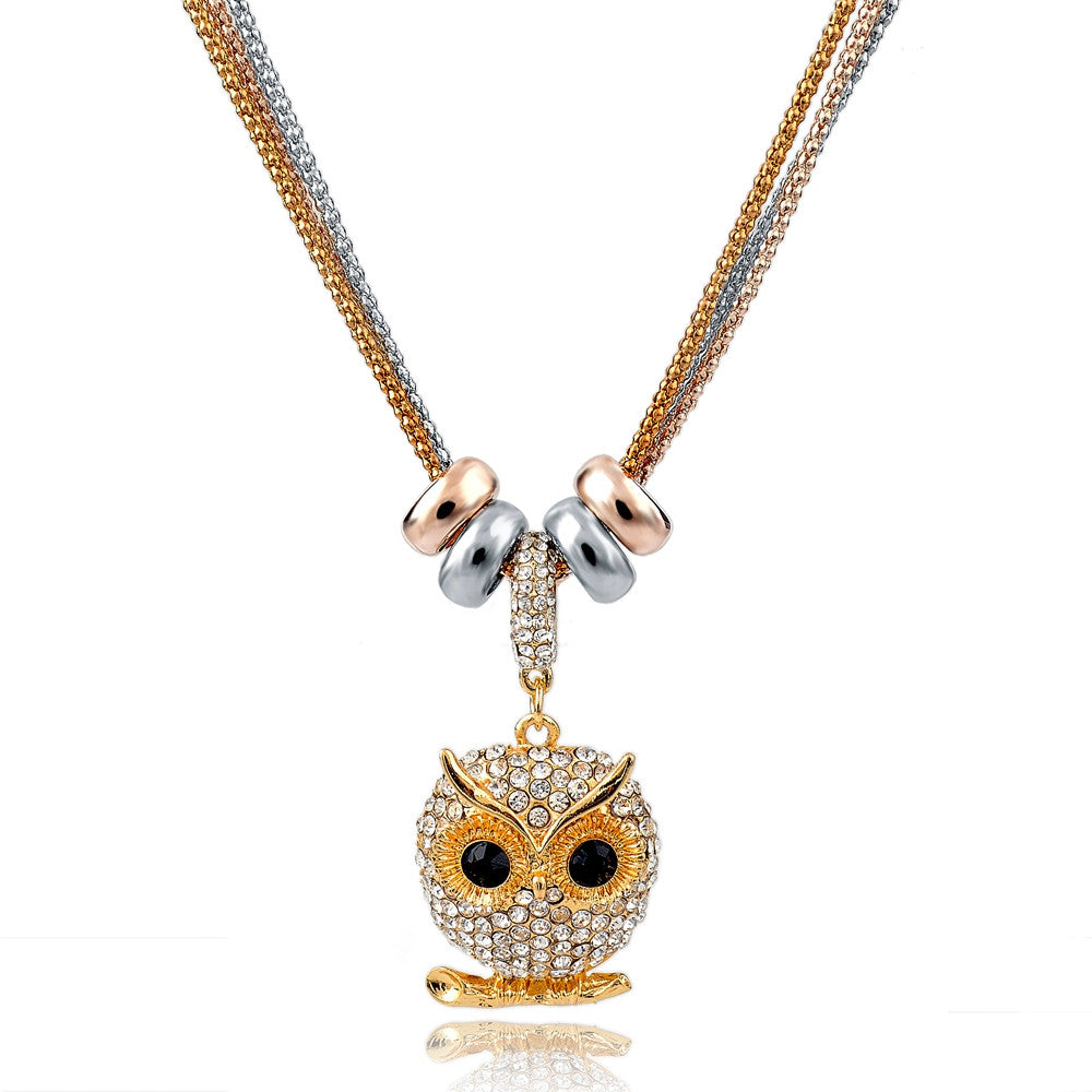 New Design Necklace & Pendant Gold Silver Chain Long Necklace Full Rhinestone Ball Pendant Necklace For Women