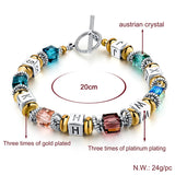 New Design Silver Square Colorful Murano Crystal Beads Bracelet for Women Easy-Hook Jewelry Christmas Gift