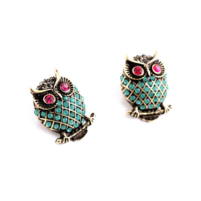 New Design Vintage Personality Imitation Gemstone Owl Women Stud Earrings Fashion Jewelry