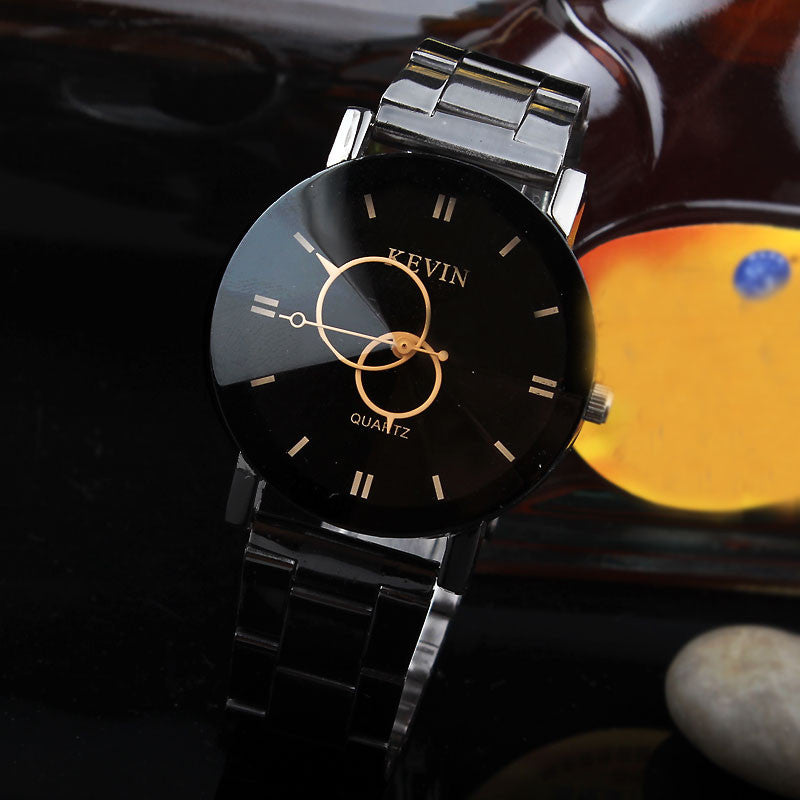 New Design Women Watches Fashion Black Round Dial Stainless Steel Band Quartz Wrist Watch Mens Gifts