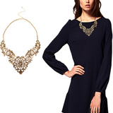 New European Vintage Luxurious Collar Chain Bronze Lace Flower Chain Choker Necklace for Women