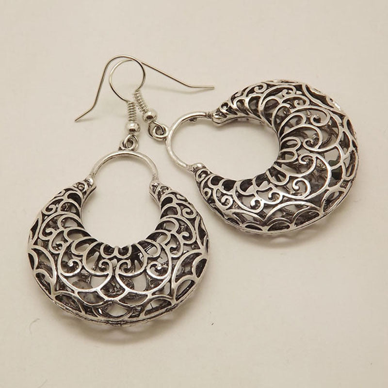 New Exotic Hollow Out on Both Sides Tibetan Silver Hoop Fashion Vintage Earrings For Women