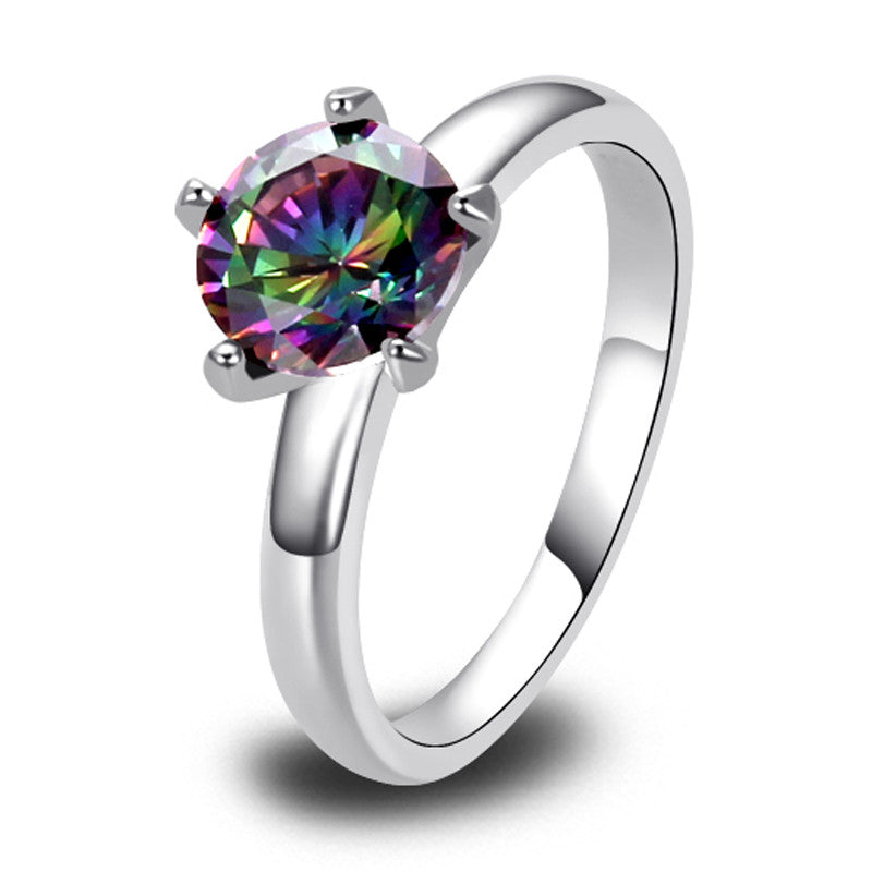 New Fabulous Round Cut Mystic Rainbow Topaz 925 Silver Ring Fashion Jewelry Women Rings