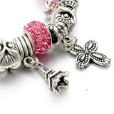 New Fashion 925 Silver Bracelet For Women Flower Tower Bracelet Pink Crystal Beads Paris Charms Diy Pulsera