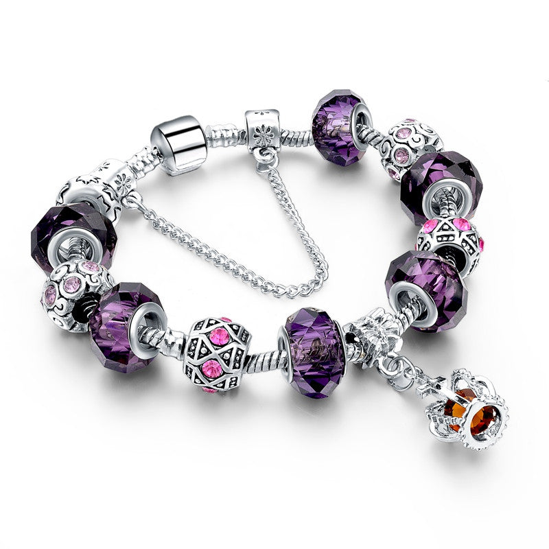 New Fashion 925 Silver Charm Bracelet For Women Royal Crown Bracelet Purple Crystal Beads Diy Jewelry