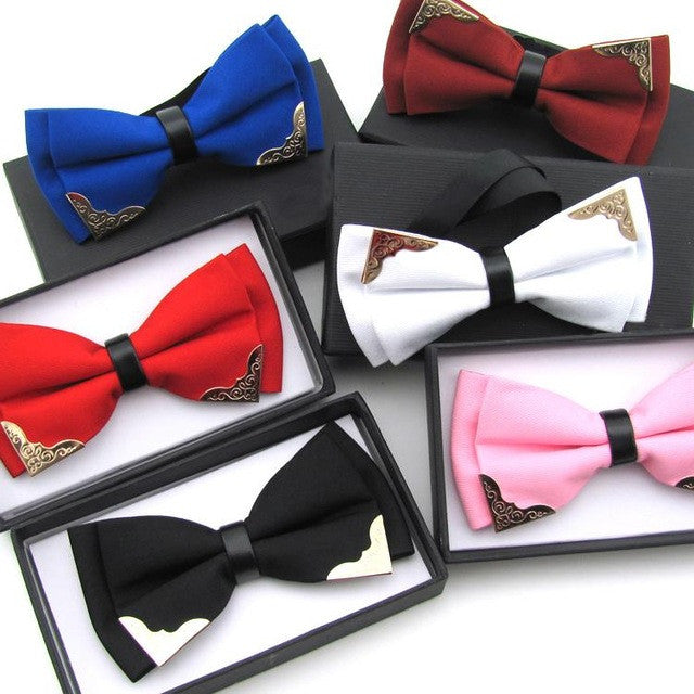 New Fashion Boutique Metal Head Bow Ties For Groom Men Women Butterfly Solid Bowtie Classic Gravata Cravat