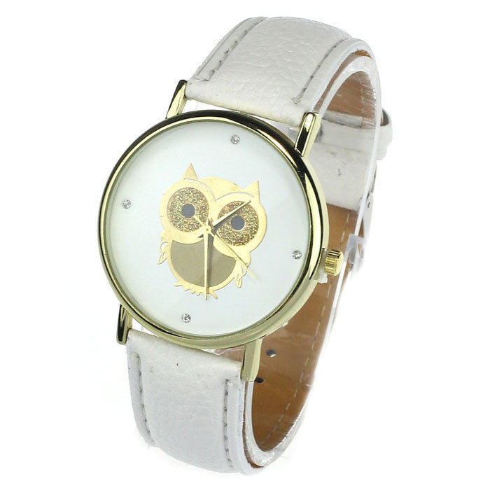 New Fashion Cartoon Owl Style Dress Gold Watch Women Clock Casual Wrist Watch Quartz Watches For Women Gift