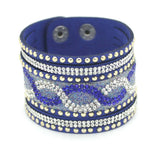 New Fashion Charm Women Leather Bracelets Personality Printed Pave Setting Rhinestone Bracelet