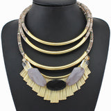 New Fashion Crystal Necklaces & pendants Unique Collar Statement Necklace Gold-plated Color Circle Accessories For Women