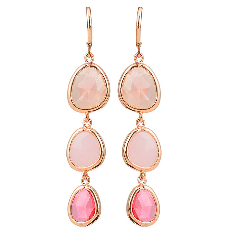 New Fashion Dangle Long Earrings Fashion Jewelry Charms Colorful Crystal Stone Long Drop Pink Earrings For Women