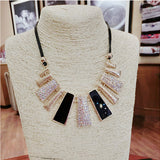 New Fashion Design Beads Enamel Bib Leather Braided Rope Chain Necklace
