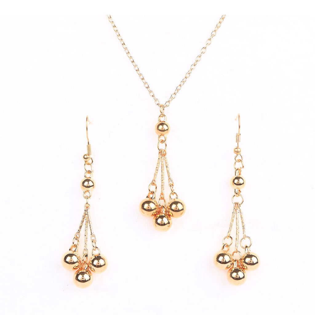 New Fashion Elegant Beaded Pendant Necklace and Drop Earrings Wedding Jewelry Sets for Women Fine Jewelry
