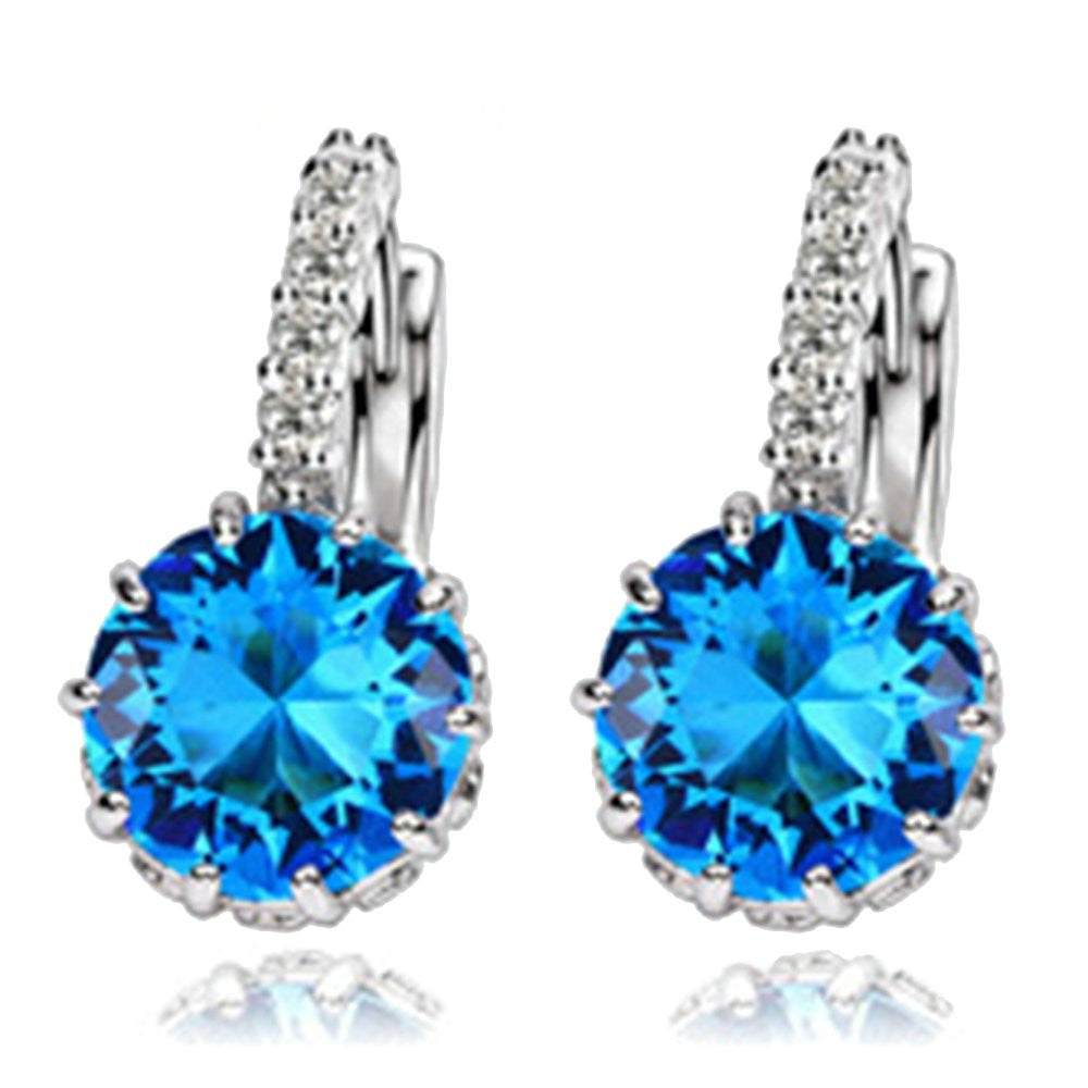 New Fashion Elegant Luxurious Crystal Rhinestone Wedding White Earrings Jewelry Statement Earring