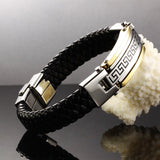 New Fashion Fine Jewelry Men Great Wall Leather Stainless Steel Bracelets Vintage Bangles Male Accessories