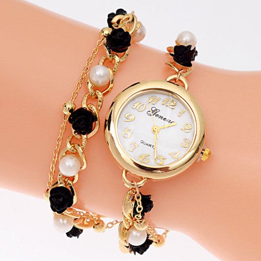 New Fashion Geneva Brand Women Bracelet Watches Luxury Pearl Chain Women Wristwatches