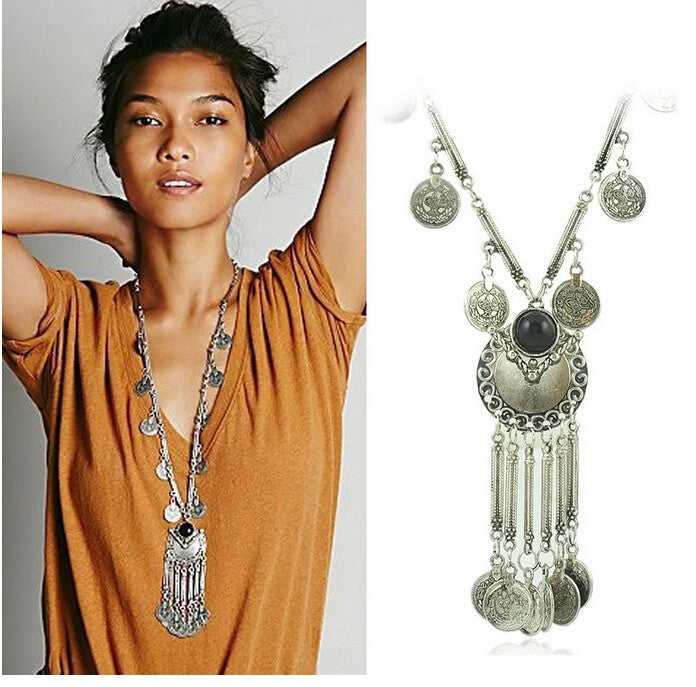 Fashion Boho Jewelry Long Tassel Necklace for Women Vintage Antique Silver Coins Necklaces & Pendants Bohemia Maxi Collares