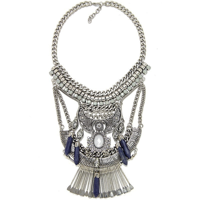 Fashion Hot Sale Vintage Boho Crystal Collares Statement Necklaces & Pendants Long Choker Maxi Necklaces Women Jewelry