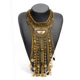 New Fashion Hot sale Multilayer Vintage Necklace Gold Tassel Coin Choker Statement Long Necklaces Pendants Collar For Women