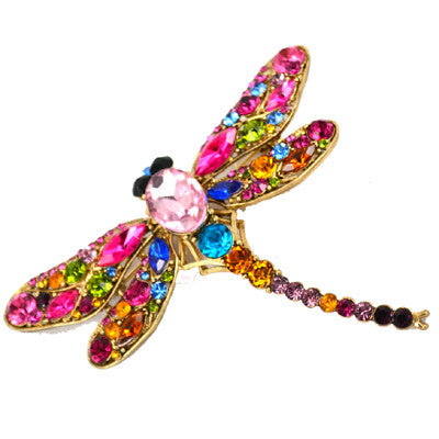 New Fashion Jewelry Brooches 8 Colors Vintage Lovely Dragonfly Crystal Rhinestone Scarf Pins Brooches For Women
