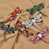 New Fashion Jewelry Broochs 8 Colors Vintage Lovely Dragonfly Crystal Rhinestone Scarf Pins Brooches For Women