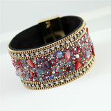 New Fashion Jewelry Woman Bangle Bracelet,Magnetic clasp High-grade Leather Crystal Stones Accessories