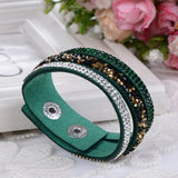 New Fashion Lap Layer Wrap Bracelets Slake Leather Bracelet for women With Crystals Couple Jewelry