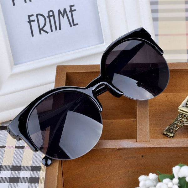 1344fce6e19 New Fashion Men Women Retro Cat Eye Semi-Rim Round Sunglasses Stylish