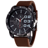 New Fashion Mens Stylish Luxury Huge Big Dial Silicone Band Quartz Wrist Watch Sports Watch