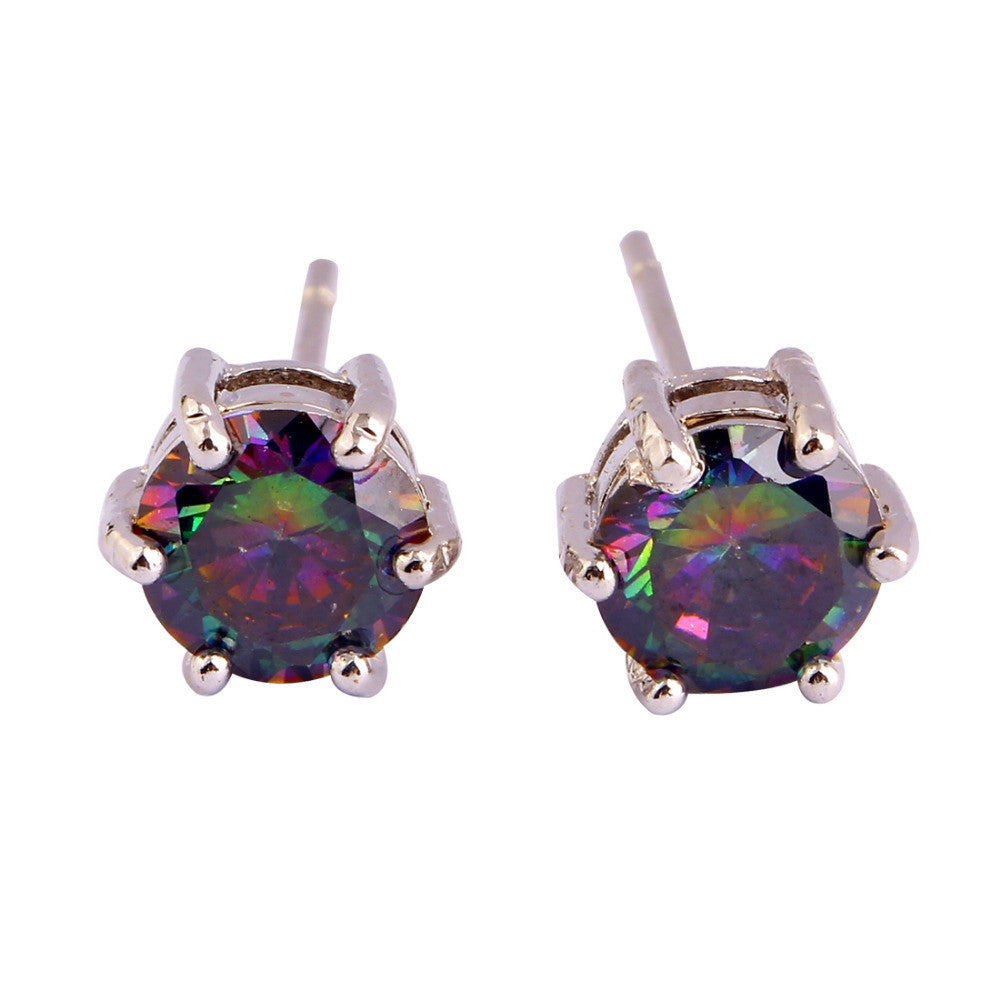 New Fashion Mysterious Round Cut Rainbow Topaz Jewelry Silver Women Stud Earrings Nobby Style