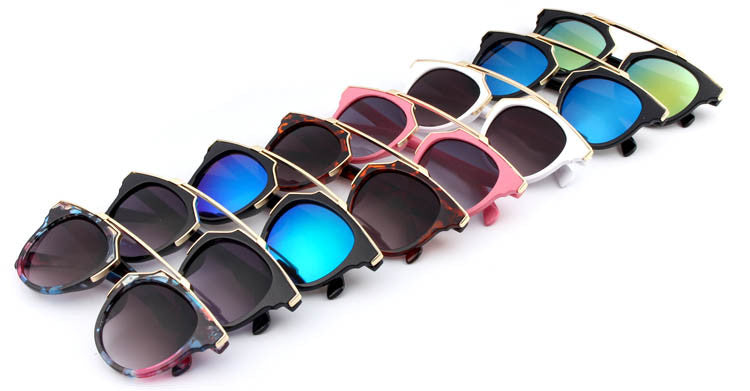 New Fashion Plastic Wrap Metal Cat Eye Glasses Vintage Sunglasses Women Men Brand Designer Coating sunglass