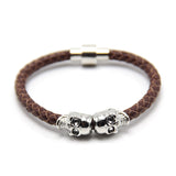 New Fashion Punk Genuine Skull Leather man Bracelet for Man Women in colors with twin skull design Men Bangles