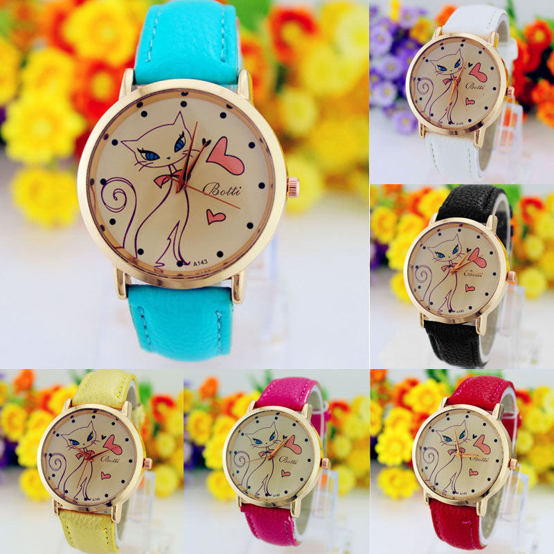New Fashion Relogio Women Watch Ladies Vintage Flower Watch Cat Leather Quartz Clock Casual Dress Reloj