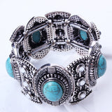 New Fashion Silver Plated Jewelry Unisex Vintage Turquoise Bracelet&Bangle Each With 5 Turquoise Decoration