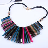 New Fashion Statement Leather Braided Rope Design Beads Enamel Bib Frosted Crystal Chain Necklace