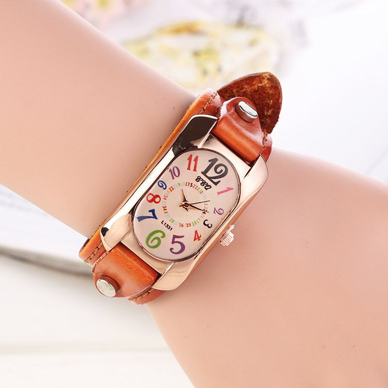 New Fashion Vintage Leather Bracelet Watch Women Wristwatch Ladies Quartz Watch Dress Watch